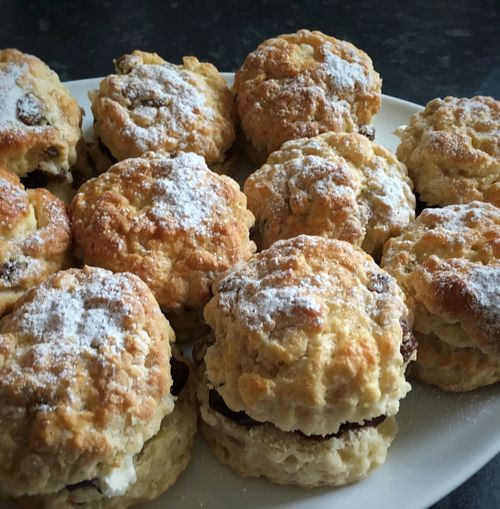 Close-up of scones in plate