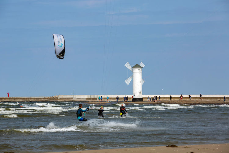 Baltic Baltic Sea Stawa Młyny Adventure Aquatic Sport Beauty In Nature Day Extreme Sports Group Of People Kiteboarding Land Leisure Activity Lifestyles Men Motion Nature People Real People Sea Sky Sport Water Wave