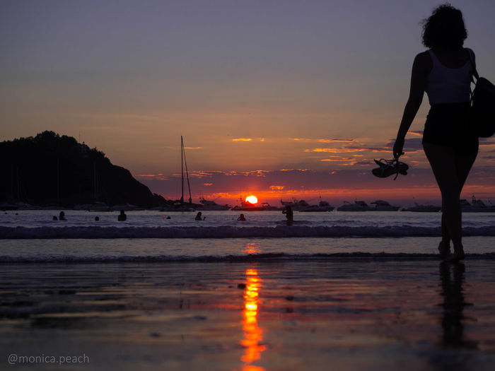 SPAIN Sunset Silhouettes Beach Beauty In Nature Discover Eu Europe Full Length Leisure Activity Lifestyles Nature One Person Outdoors Real People Reflection Scenics Sea Sky Standing Sunset Water