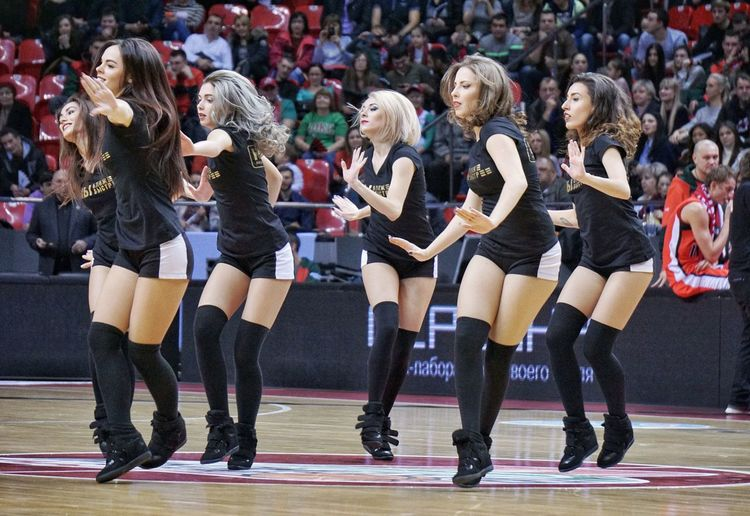 Arts Culture And Entertainment Dancing Music People Performance Young Women Group Of People Females Large Group Of People Lokomotiv-kuban Eurocup  Basketball, Match - Sport