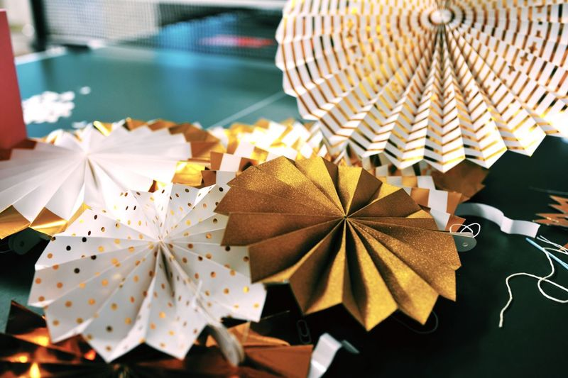 High angle view of paper decoration on table