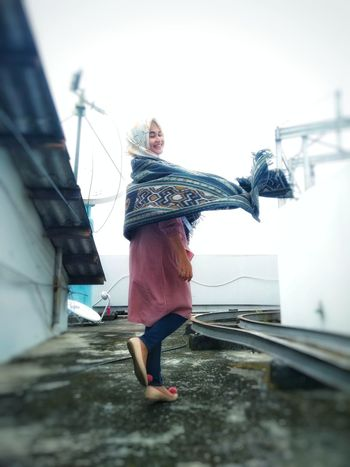 rooftop Women Around The World Women Who Inspire You Women Of EyeEm Fresh Tenun Ikat Indonesia Fashion Stories EyeEm Selects Rooftop People Casual Clothing Outdoors Sky Building Exterior Day