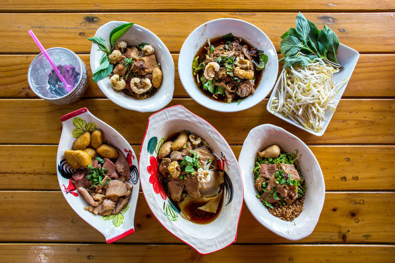 Ayutthaya Boat Noodle Food Food And Drink Ready-to-eat Table Freshness Still Life Serving Size Indoors  Healthy Eating High Angle View Bowl Wellbeing Wood - Material Plate No People Eating Utensil Spoon Directly Above Asian Food Meal Garnish Tray Temptation