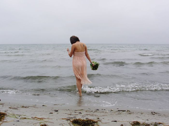 My wife to be... then Sea Horizon Over Water Beach Water Shore Sand Full Length Tranquil Scene Cloudy Day Art Is Everywhere Live For The Story EyeEm Selects