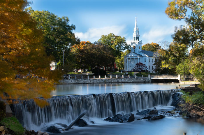 Fall in New England Watetfall EyeEm Selects Autumn Church Tree Water Politics And Government Motion Long Exposure Religion Place Of Worship Waterfall Blue Sky Flowing Water Leaves Stream - Flowing Water Fall Autumn Collection