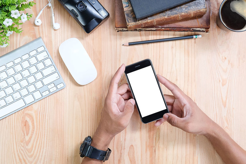 Mock up Smartphone with top view office work space.Top view Office desktop with office accessories, Desktop with business objects Hero header Concept. Business Cellphone Composition Mobile Phone Screen Touch Apartment Backgrounds Design Hand Internet Keyboard Laptop Lifestyles Message Mobile Mock Up Phone Smart Phone Smartphone Technology Telephone Top View Touch Screen Using Phone