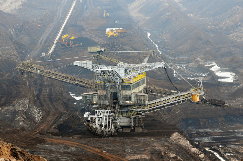 aerial view in coal mine with bucket wheel excavator. destruction of nature. fossil energy. Industry Mining High Angle View Fuel And Power Generation Coal Mine Quarry Coal Outdoors Transportation Tagebau Braunkohle Braunkohletagebau Fossil Energy Bucket Wheel Excavator Schaufelradbagger Crane - Construction Machinery Mode Of Transportation Above Machinery Fossil Fuel Aerial View