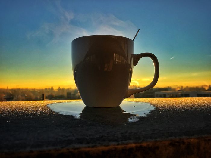 Cup Morning Coffee Steaming Mug Sunrise Sky Food And Drink Drink Close-up No People Over The City Relaxing Moments Freshness Day Cold Frosty Mornings