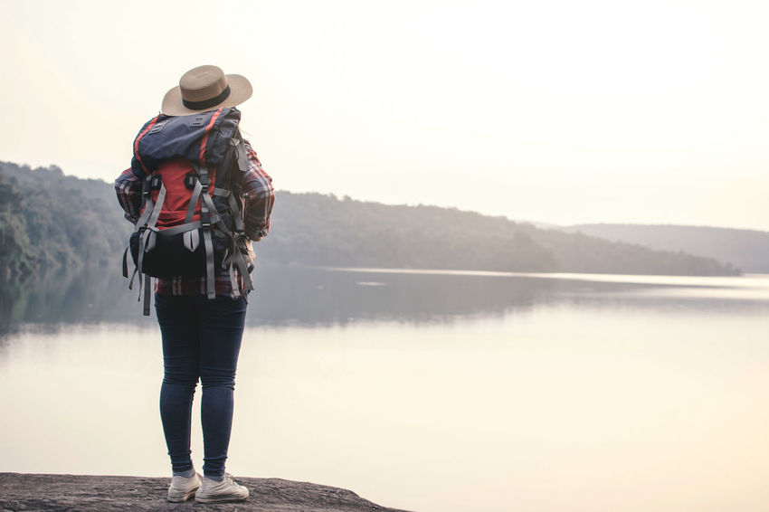 Travel Backpack Beauty In Nature Lake Lifestyles Looking At View Mountain Real People Standing Water