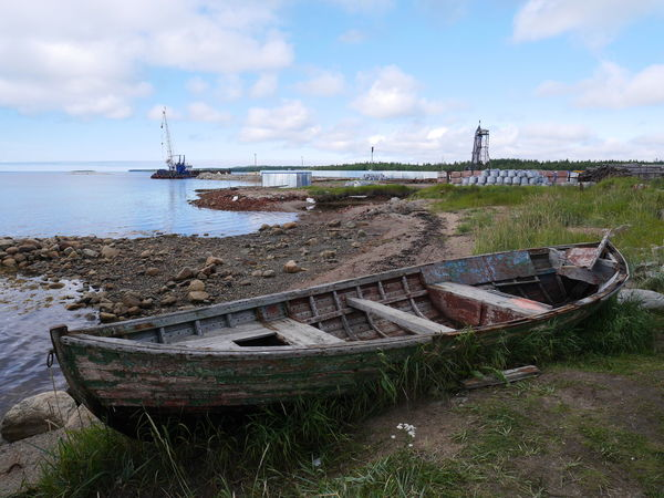 Nautical Vessel Sky Water Transportation Cloud - Sky Mode Of Transportation Abandoned Nature Land Day Moored No People Decline Beach Deterioration Sea Outdoors Old Obsolete Ruined Boat Solovetskie Ostrova Karelia Russia Stone