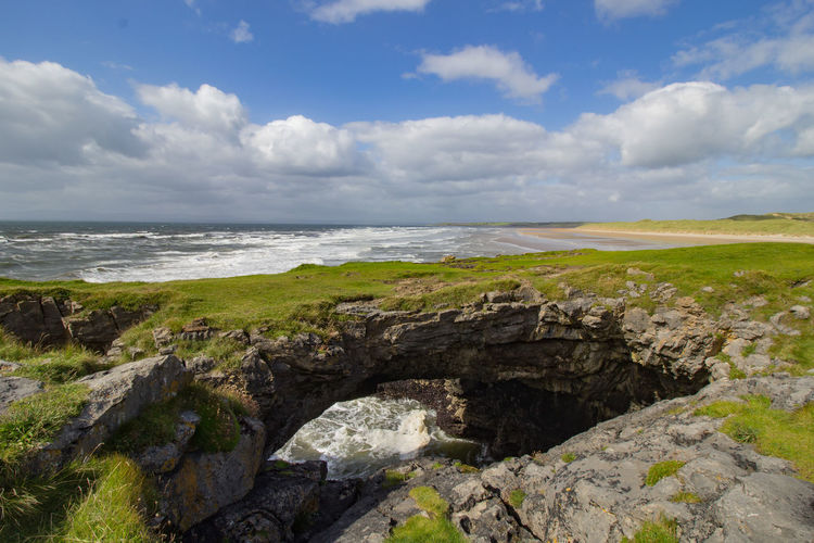 Cliff Cloudy Coastline Fairy Bridge Horizon Over Water Ireland Landscape Rock Formation
