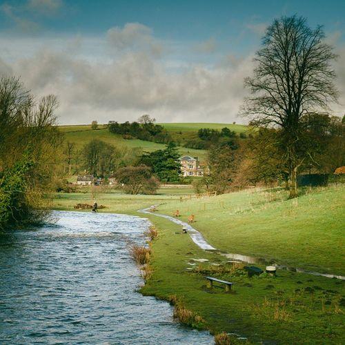 Beautiful Spring day in Bakewell, England. Travel Landscape Riverwye Bench wanderlust instatravel nature uk thisgreenandpleasantland discover memoir viewtiful huffpostgram photosofengland
