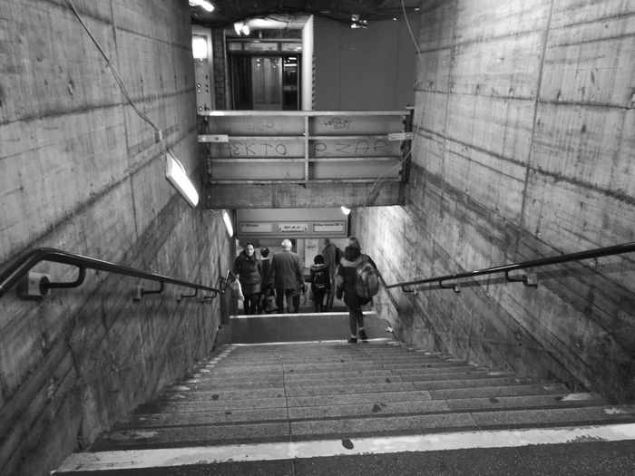 Built Structure Steps And Staircases Architecture Steps Real People Building Exterior Men Only Men Day People Adults Only Outdoors Adult Berlin, Germany  Architecture_collection Architecture Blackandwhite Photography Underground U - Bahn Stairs_collection Stairs Walking Around Love Photography Discover Your City Black & White