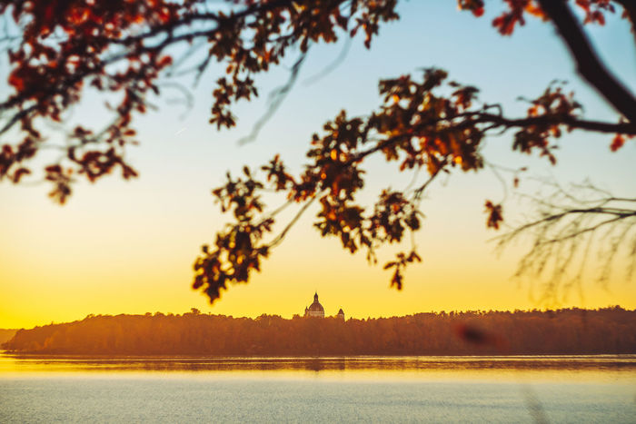 Magic sunset Autumn Sunset Europe Lithuania Lietuva Nikon D750 Magic Sunset Pazaislis Monestery Pažaislis Tower Sky Tree Plant Water Nature Orange Color Architecture Silhouette Travel Destinations Scenics - Nature Built Structure No People Waterfront Beauty In Nature The Past Lake History Tranquility Outdoors