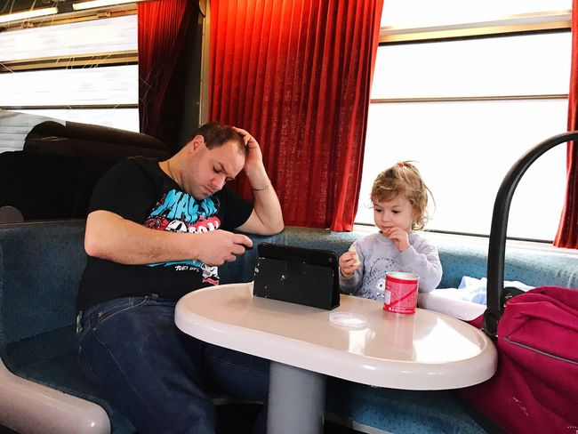 Train Travel Travel With Friends Child Two People Childhood Bonding Sitting Fun People Togetherness Family Leisure Activity Table Indoors  Adult Day