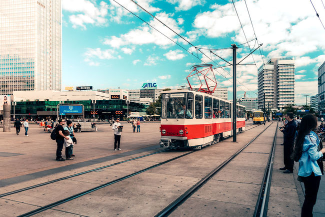 A new historical tram and we celebrates 40 years of Tatra trams in Berlin. Special trips throughout the day Architecture Building Exterior Built Structure Cable Cable Car Casual Clothing City City Life Cloud Cloud - Sky Day Historical Outdoors Person Public Transport Public Transportation Rail Transportation Railroad Station Railroad Station Platform Sky Train Tram Tramway Transportation Transportation