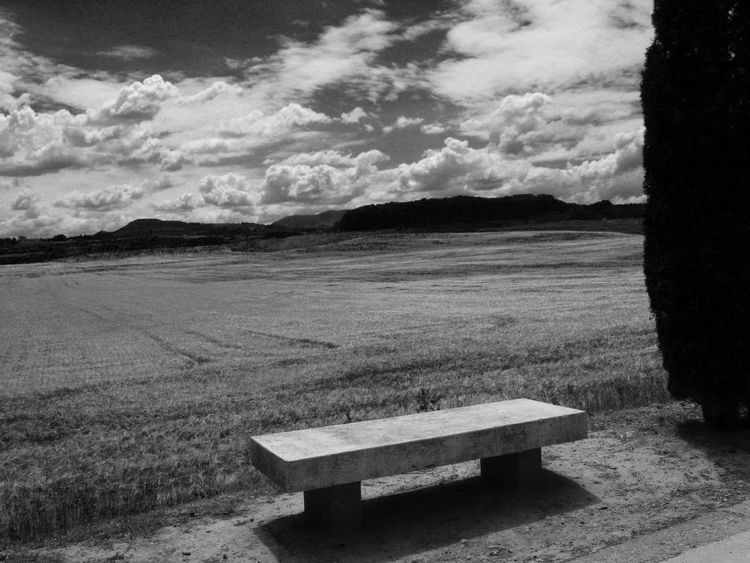 Alone Alone Time Bench Black & White Esperando Loneliness Waiting Banco Black And White Blackandwhite Blanco Y Negro Camino De Santiago Cloud - Sky Grass Landscape Nature No People Silence Silencio Sky Solitude Tranquil Scene Tranquilidade Tranquility Waiting For Someone