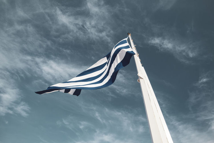 Acropolis Athens Greece Acropolis Cloud - Sky Sky Low Angle View Flag Patriotism Wind Environment No People Nature Striped Day Waving Pole White Color Outdoors Emotion Blue Independence National Icon