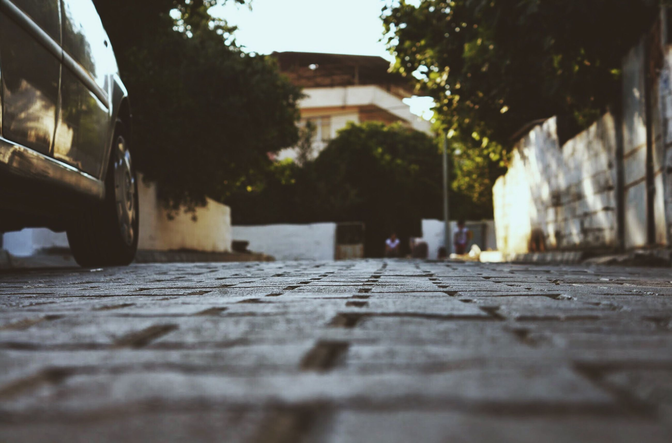 building exterior, architecture, built structure, surface level, the way forward, selective focus, tree, street, house, city, residential structure, diminishing perspective, day, sunlight, cobblestone, outdoors, residential building, focus on background, walkway, building