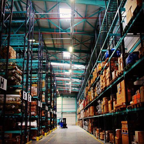 Interior of illuminated warehouse