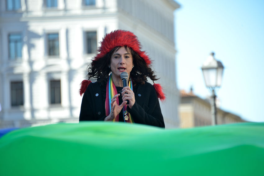 Vladimir Luxuria speaks in a LGBT HUMAN RIGHTS demonstration against Putin that was present in Trieste Arcigay Arcilesbica Demonstration Against Putin Human Rights LGBT Rights Outdoors Rainbow Flag S.o.s. Russia Streetphotography Trieste Triesteraccontatrieste Triestestreetlife Vladimir Luxuria City Life