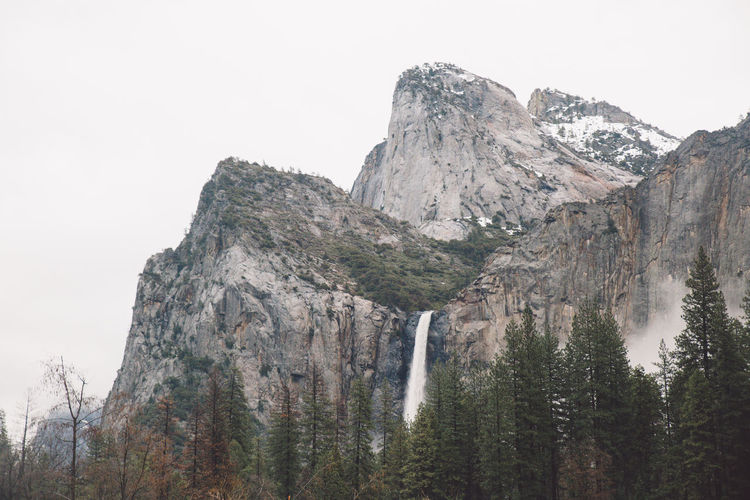 Low angle view of el capitan at yosemite national park against clear sky
