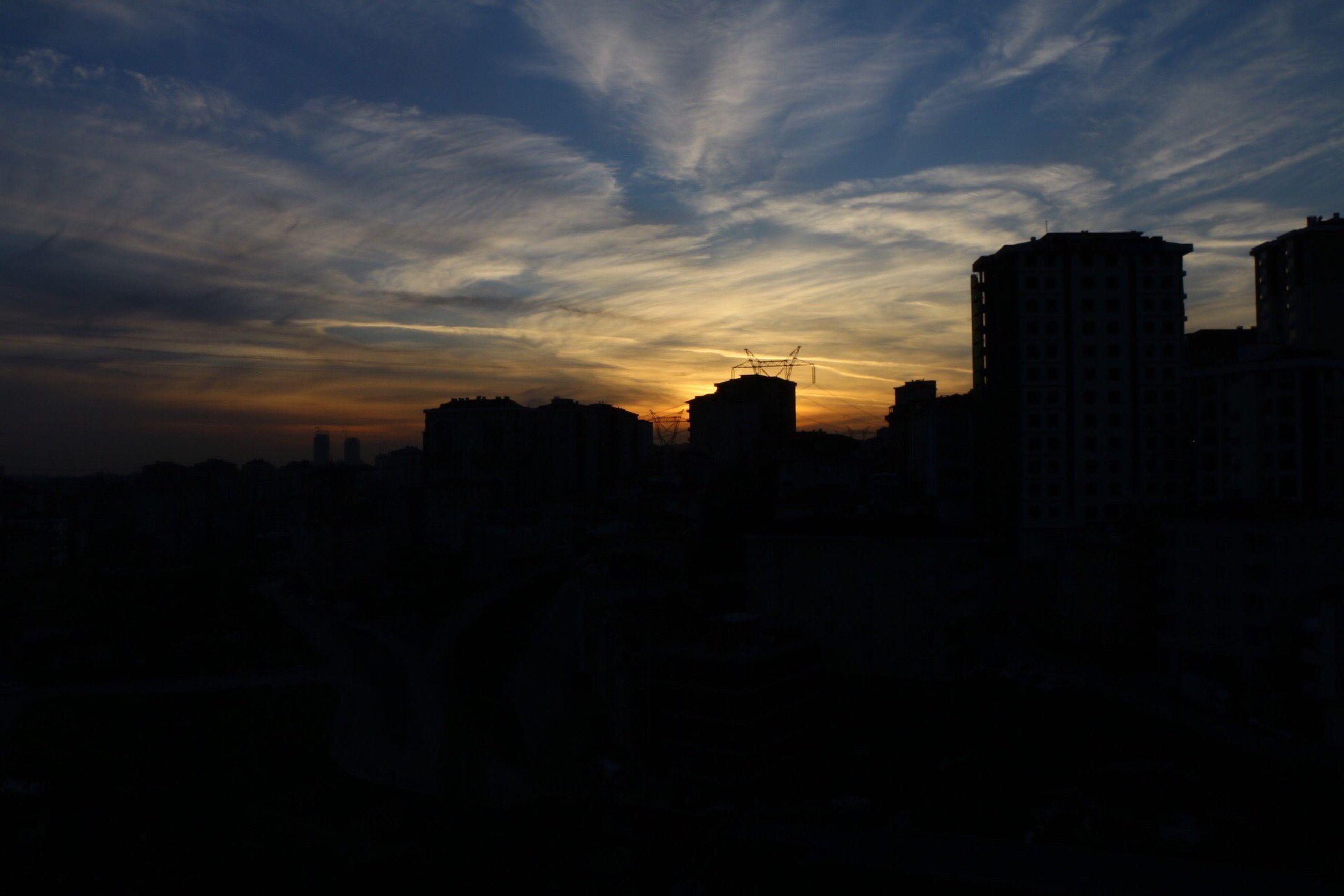 sunset, silhouette, building exterior, architecture, built structure, sky, cloud - sky, city, dark, cloud, dusk, residential structure, orange color, residential building, scenics, outline, cityscape, building, beauty in nature, house
