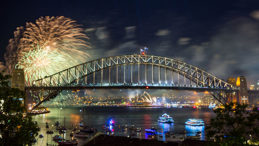 Sydney Fireworks Display during New year eve Awe Bridge - Man Made Structure City Cityscape Firework Display Harbor Horizontal Midnight New Year's Eve Night Outdoors People Performing Arts Event Reflection Scenics Steel
