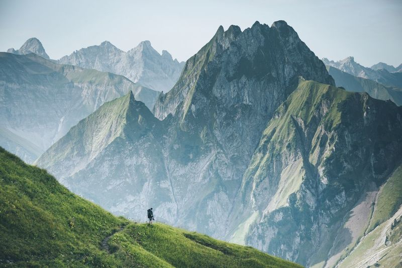 Don't call it a dream, call it a plan. Mountain Mountain Range Scenics Hiking Adventure Nature Valley Majestic Beauty In Nature Mountain Peak Rock - Object Green Color Tranquil Scene Landscape Day Steep Travel Destinations Outdoors Cliff One Man Only Bavaria