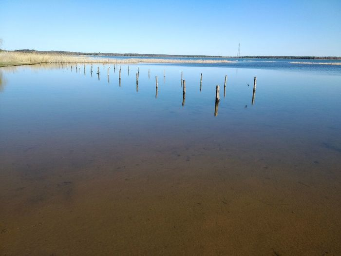 Wooden posts in lake against clear sky