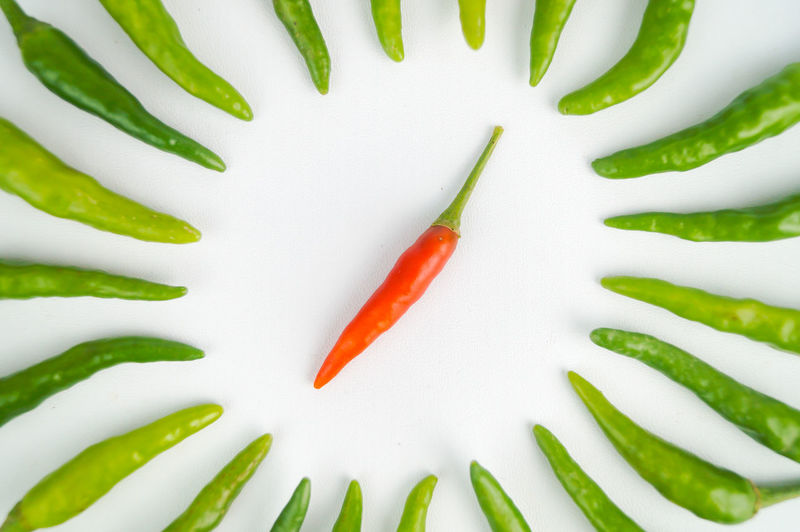 High angle view of chili pepper against white background