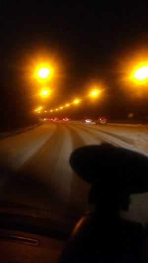 Dangerous Drive Ice Nearly Home Transportation Car Driving Speed Road Night Illuminated
