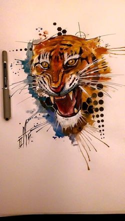 Watercolor Tiger Check This Out Tattooartist  Torstenmatthes Fullcustomtattoo Tattoo Instagram Mrttattoo Freehand