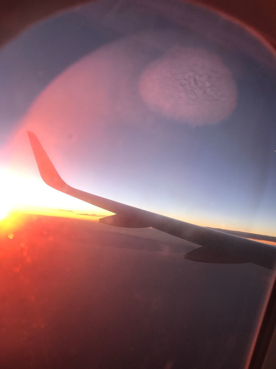 airplane, transportation, journey, air vehicle, sky, mode of transport, no people, airplane wing, flying, sun, beauty in nature, travel, nature, sunset, scenics, aerial view, aircraft wing, outdoors, day, close-up