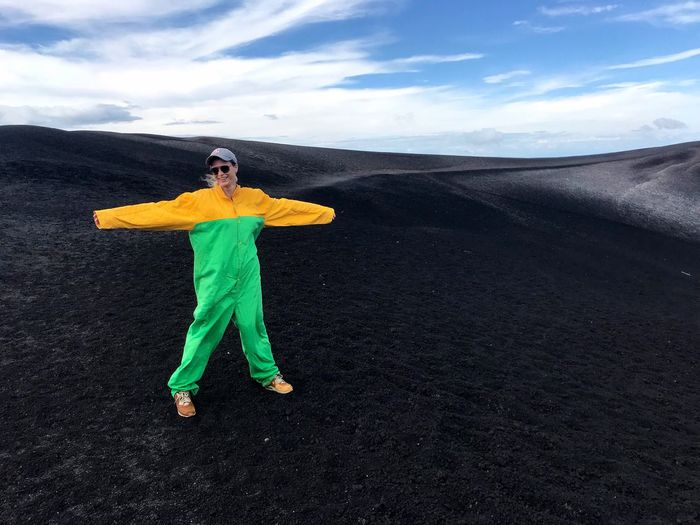 Cerro Negro Volcano Nicaragua Volcanic Landscape Volcano Crater Volcanic Rock Women Volcano Boarding Extreme Sports One Person Full Length Nature Outdoors Cloud - Sky Jump Suit Young Women Landscape Lifestyles Scenics Day