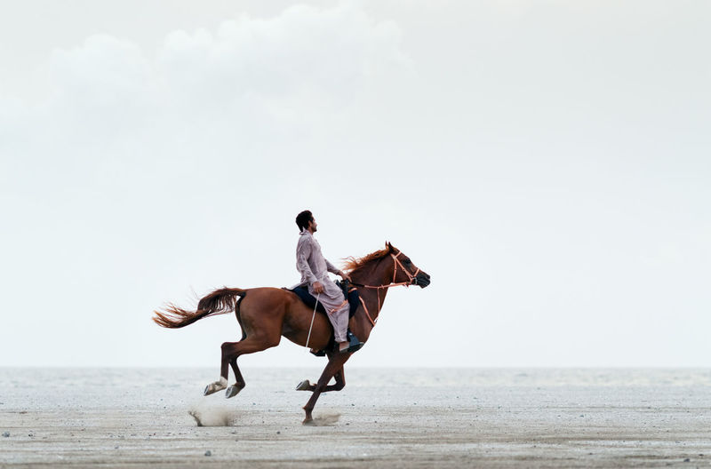 Side view full length of man riding horse on sand against clear sky