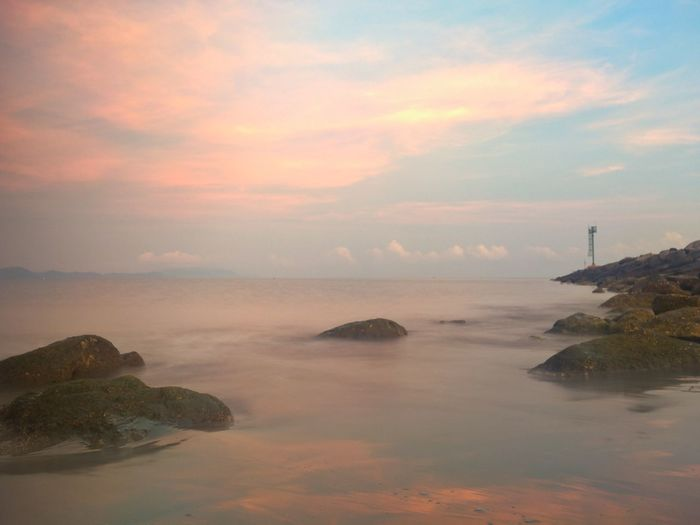 Morning View at The Beach Sky Water Beauty In Nature Scenics - Nature Cloud - Sky Sunset Sea Tranquility Tranquil Scene Nature Rock No People Non-urban Scene Waterfront Rock - Object Solid Idyllic Built Structure Architecture Guidance