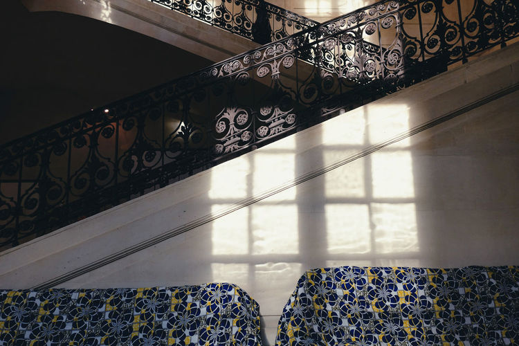 Sunshine Sunlight Light And Shadow Pattern Indoors  Building Shadow Staircase Design Built Structure Metal Steps And Staircases Day Architecture No People Window Sofa Sunny Winter Warm Flooring Life Europe Style Railing A New Perspective On Life Capture Tomorrow