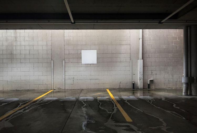 Empty parking lot in basement