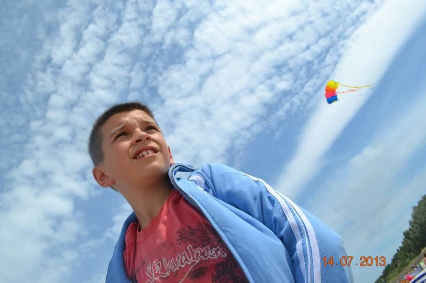 Boy Blue Sky And Clouds Colours Blue Clouds Kite Flying Kite Bestfriend Summer Summertime