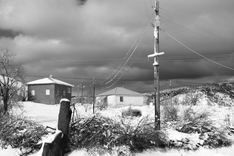 Architecture Building Building Exterior Built Structure Cable Cloud - Sky Cold Temperature Connection Day Electricity  Field House Land Nature No People Outdoors Power Supply Sky Snow Technology Winter