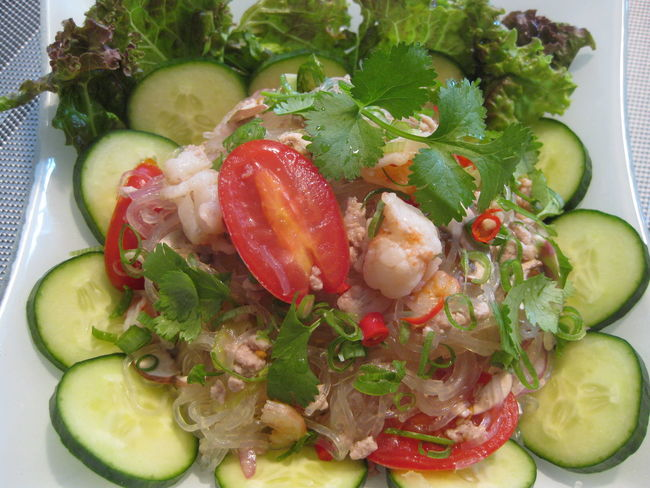 Food Freshness Green Color Home Cooking Meal No People Ready-to-eat Salad Thai Spicy Salad Tomato タイ タイ料理
