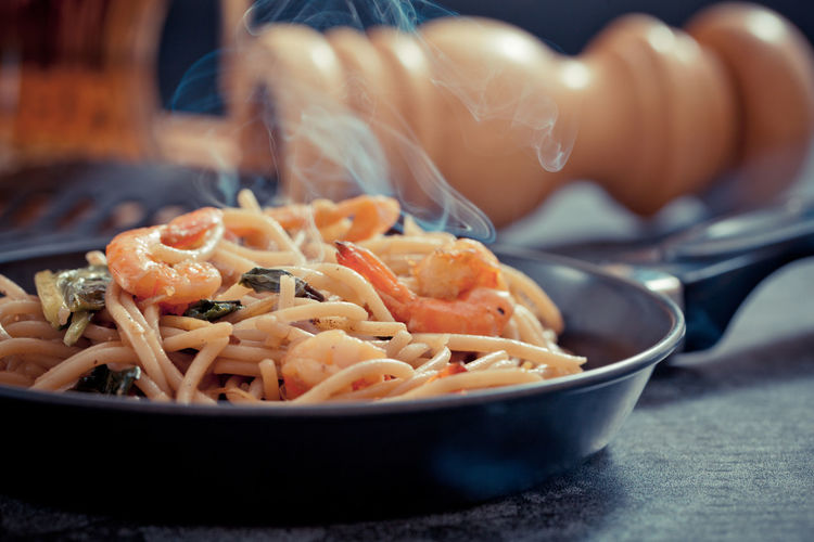 Close-up of pasta in bowl on table