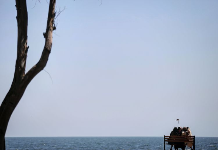 Rear View Of Women Sitting On Bench By Sea Against Clear Sky