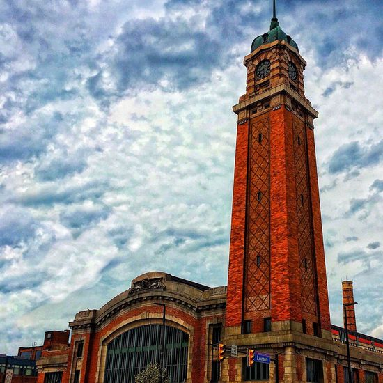 Cleveland Strong Cloud - Sky Architecture Sky Built Structure Low Angle View Building Exterior Day Outdoors Clock Tower Travel Destinations Red City No People Clock