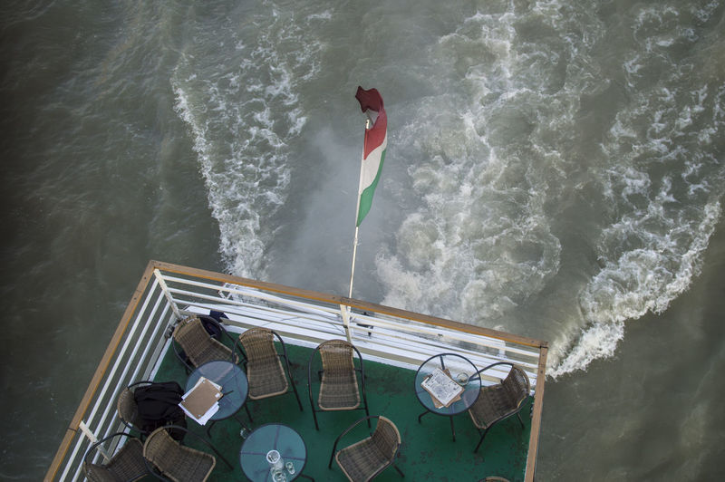 High angle view of hungarian flag on boat in sea