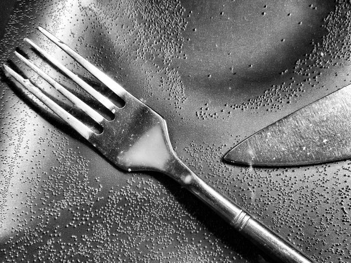 Close-up of fork and knife in water