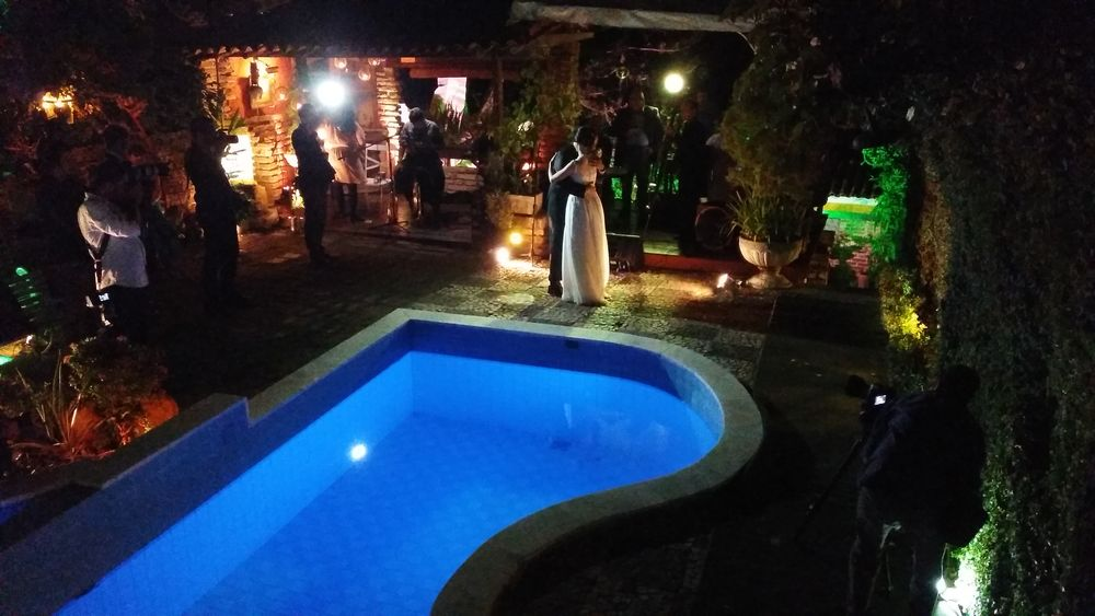 Swimming Pool Illuminated Night Water Casamento Cople Casais Casamentos