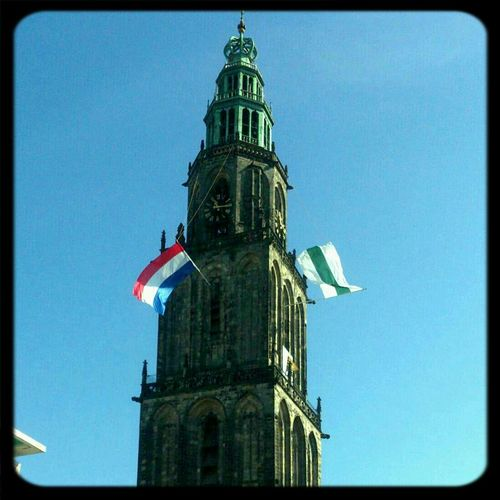 National Day Bommen Berend, flag of the Netherlands and City Groningen Flags Tower Hystory