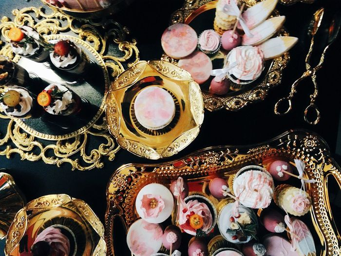 Close-up of desserts on table